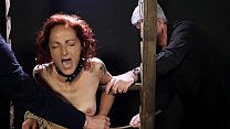 Toned redhead caned until she cries Thumbnail
