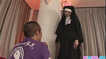 Unholy nun fucking Rika Sakurai gets it in the ass Thumbnail