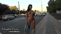 Nude on a busy street