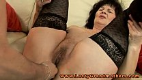 pleased toy stockings in granny Mature