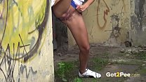 Got2Pee - Hot brunette relieves her pee despera...