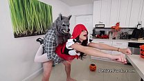 Little red riding hood takes big cock from wolf