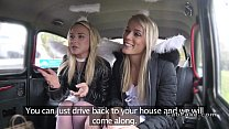 Two blonde angels sharing cock in fake taxi thumb
