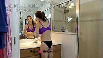 Molly Jane in dad helps daughter get ready for school