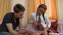 .Sexy schoolgirl Zufia gives head and gets faci...