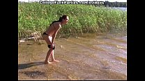 russian girl fucking and sucking the cock on the river bank