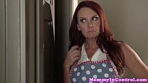 tanlined stepmom queeing in threeway