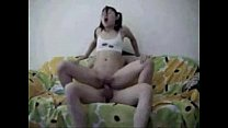 chinese couple fuck on sofa