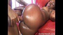 Black babe get her oiled ass fucked