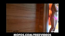 Blonde bombshell with big natural-tits masturbates in the sauna