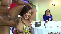 Horny ladies enjoy blowjob party with male stri...