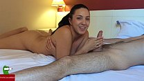 She jerks him until he eats all his ejaculation