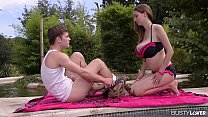 Busty pool goddess Lucie Wilde gets her big nat...