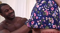 Young Jade Amber at casting gets big dark chocolate cock