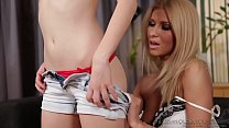 Mature blonde Carla G licking fresh young pussy