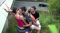 Cum on big tits in public gang bang foursome Thumbnail
