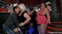Fat chicks have fun in the bar
