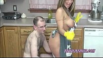 Petite MILF Leeanna sucking dick in the kitchen