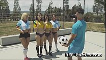 Soccer Chicks Fighting For Trainers Cock