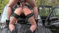 Hot brunette anal fucked on the bonnet