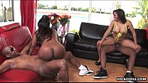 Two plumpy black bitches with dick desire get f...