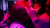 lesbian young latinas dancing and kissing at party
