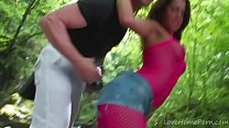 Pink Fishnets And Hard Anal Action Outdoors