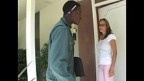 Bored big tits housewife seduces the courier guy for his big black cock
