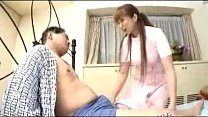 Busty Nurse Sucking Old Mans Cock On The Bed
