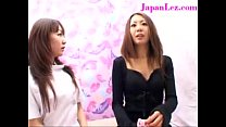 Asian Lesbian Girl Undressed and Fingered Throu...