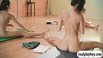 Big tits trainer and two brunettes yoga session while naked Thumbnail