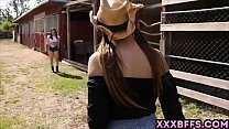 Two country chicks teaching lesbian love to a c...