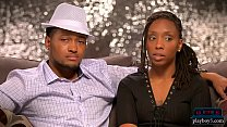 Outgoing black amateur couple look for a threes...
