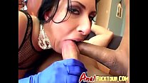 Cock hungry brunette slut gets her ass and wet pussy fucked hard at same time