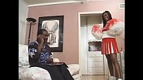 Hot African woman gets down and dirty with dude in the living room