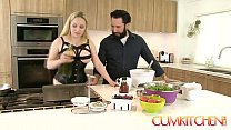 CUM KITCHEN: Busty Blonde Aiden Starr Fucks whi...