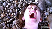 myfirstpublic mouth filling with cum on the beach