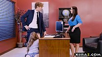 Office threesome with two bosses and a sexy emp... Thumbnail