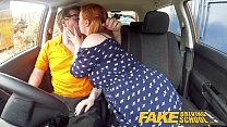 Fake Driving School Voluptuous redhead fucks in...