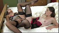 Lesbians in lingerie sharing double ended dildo - download porn videos