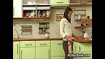 Ilonka is in the kitchen preparing diner for her h