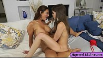 Busty mom and slim teen lesbian session on the ...