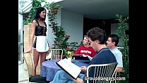 Outdoor group sex pumping game where