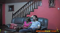 African teen seduced doggy style big white rod