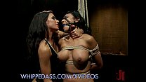 Tied up subs abused by lesbians