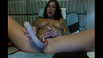 Felicity Feline masturbates and sucks a huge dildo on webcam