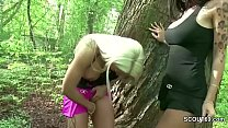 Two German Lesbian Teen Caught Licking in Public