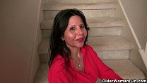 American milf April White teases her nyloned pussy