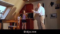 Bussines old man fucking his sexy blonde teen girlfriend