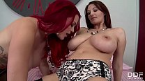 busty lesbian babes experience double dildo for 1st time
